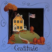 Autumn Folk Art Posters - Gratitude Poster by Catherine Holman