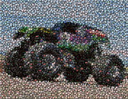 Green Monster Prints - Grave Digger Bottle Cap Mosaic Print by Paul Van Scott