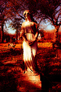 Religious Art Digital Art Prints - Gravesite in Red Print by Sonja Quintero