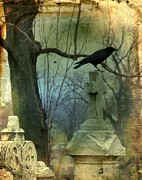 Bird On Tree Prints - Graveyard Cross Print by Gothicolors And Crows