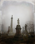 "\""stone Art\\\"" Digital Art - Graveyard Morning by Gothicolors With Crows"