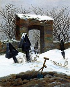 Graveyard Paintings - Graveyard Under Snow by Caspar David Friedrich