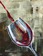 Pouring Wine Painting Prints - Gravity Print by Lisa Owen-Lynch