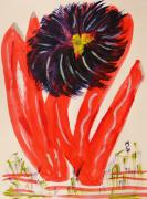 Warm Tones Drawings - Gray and Vermillion by Mary Carol Williams