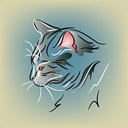 Kitty Digital Art - Gray Cat in Profile by MM Anderson