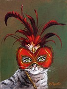 Mardi Gras Paintings - Gray Cat with Venetian Mask fairy tale by Viktoria K Majestic