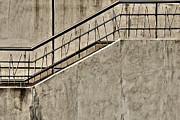 Stair-rail Framed Prints - Gray Concrete Stairway Framed Print by Jess Kraft