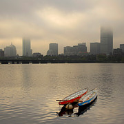 Charles River Prints - Gray Day on the Charles River Print by Ken Stampfer