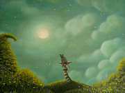 Surreal Cat Landscape Posters - Gray. Fantasy Fairy Tale Art. By Philippe Fernandez Poster by Philippe Fernandez