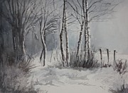 Snowy Trees Paintings - Gray Forest by Rachel Hames