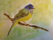 Canary Yellow Painting Prints - Gray Headed Canary Fly Catcher Print by Dottie Gillespie
