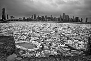 Monroe Photo Framed Prints - Gray winter Chicago skyline Framed Print by Sven Brogren