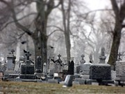 Tilt Shift Posters - Gray Winter Graveyard Poster by Gothicolors With Crows