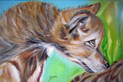 Visual Artist Painting Originals - Gray Wolf Puppy by Maria Pia Guarneri