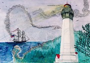 Map Art Painting Posters - Grays Harbor Lighthouse Lady WA Chart Map Art Peek Poster by Cathy Peek