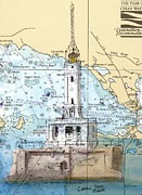 Grays Framed Prints - Grays Reef Lighthouse MI Nautical Chart Map Art Cathy Peek Framed Print by Cathy Peek
