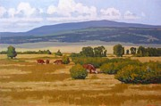Pasture Scenes Painting Posters - Grazing among bushy willows Poster by Doyle Shaw