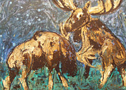 Abstracted Mixed Media Originals - Grazing Bull Moose by D Joseph Aho