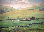 Hills Painting Prints - Grazing in the Vosges Print by Jean-Francois Millet