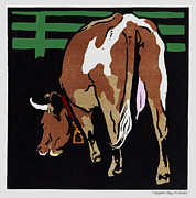Barn Yard Digital Art Prints - Grazing Milk Cow in Pen Print by Pierpont Bay Archives