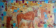Featured Mixed Media Prints - Grazing Moose Print by Jane Snyder