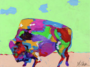 Buffalo Paintings - Grazing Time by Tracy Miller