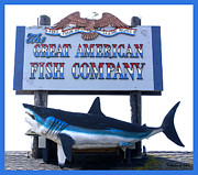 White Shark Digital Art Prints - Great American Fish Company Blue Print by Barbara Snyder