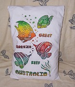 Pillow Tapestries - Textiles - Great Barrier Reef Pillow by Paula Jenkins