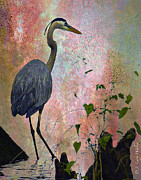 Fog Digital Art Prints - Great Blue Heron Among Cypress Knees Print by J Larry Walker