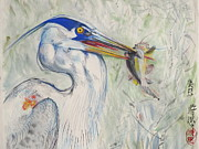 Grate Originals - Great Blue Heron and fish by Alejandro  Angio