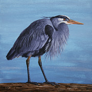 Lake Paintings - Great Blue Heron by Crista Forest