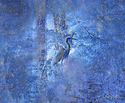 Cypress Tree Digital Art Prints - Great Blue Heron In Cosmic Meditation Print by J Larry Walker