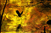 Waterscape Digital Art Digital Art - Great Blue Heron In Moment Of Suspense by J Larry Walker