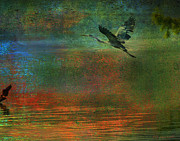 Wildlife Digital Art Prints - Great Blue Heron In Mystic Flight Print by J Larry Walker