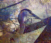 Foggy Digital Art Posters - Great Blue Heron Looking Things Over Poster by J Larry Walker