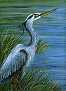 Great Painting Originals - Great Blue Heron by Sandra Estes
