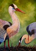 Nancy Bradley Painting Originals - Great Blue Herons by Nancy Bradley