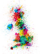 United Kingdom Prints - Great Britain UK Map Paint Splashes Print by Michael Tompsett