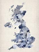 Great Digital Art Prints - Great Britain UK Watercolor Map Print by Michael Tompsett