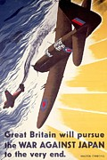 Airplanes Drawings Posters - Great Britain Will Pursue War Against Japan to Very End Winston Churchill propaganda poster Poster by Anonymous