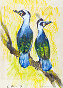 Great Pastels Prints - Great Cormorant Print by Kurt Tessmann