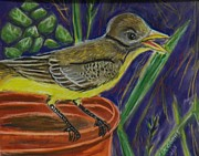 Flycatcher Pastels Prints - Great Crested Flycatcher Print by Richard Goohs