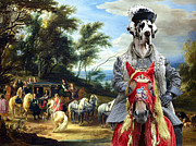 Custom Great Dane Portrait Framed Prints - Great Dane Art - Philippe Francois Arenberg meeting Troops Framed Print by Sandra Sij