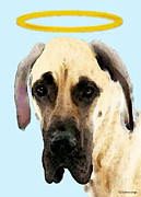 Great Dane Posters - Great Dane Art - I Didnt Do It Poster by Sharon Cummings