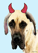 Great Dane Art Framed Prints - Great Dane Art - Ok Maybe I Did Framed Print by Sharon Cummings