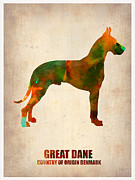 Cute Dog Framed Prints - Great Dane Poster Framed Print by Irina  March