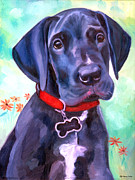 Great Dane Oil Paintings - Great Dane Puppy Sweetness by Lyn Cook