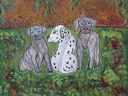 Ella Paintings - Great Dane Pups different from all the rest by Ella Kaye