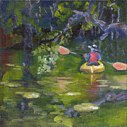Waterscape Painting Posters - Great Day For a Paddle Poster by Susan Richardson