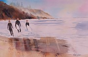 Impressionisttic Paintings - Great Day of Surfing by Dodie Davis